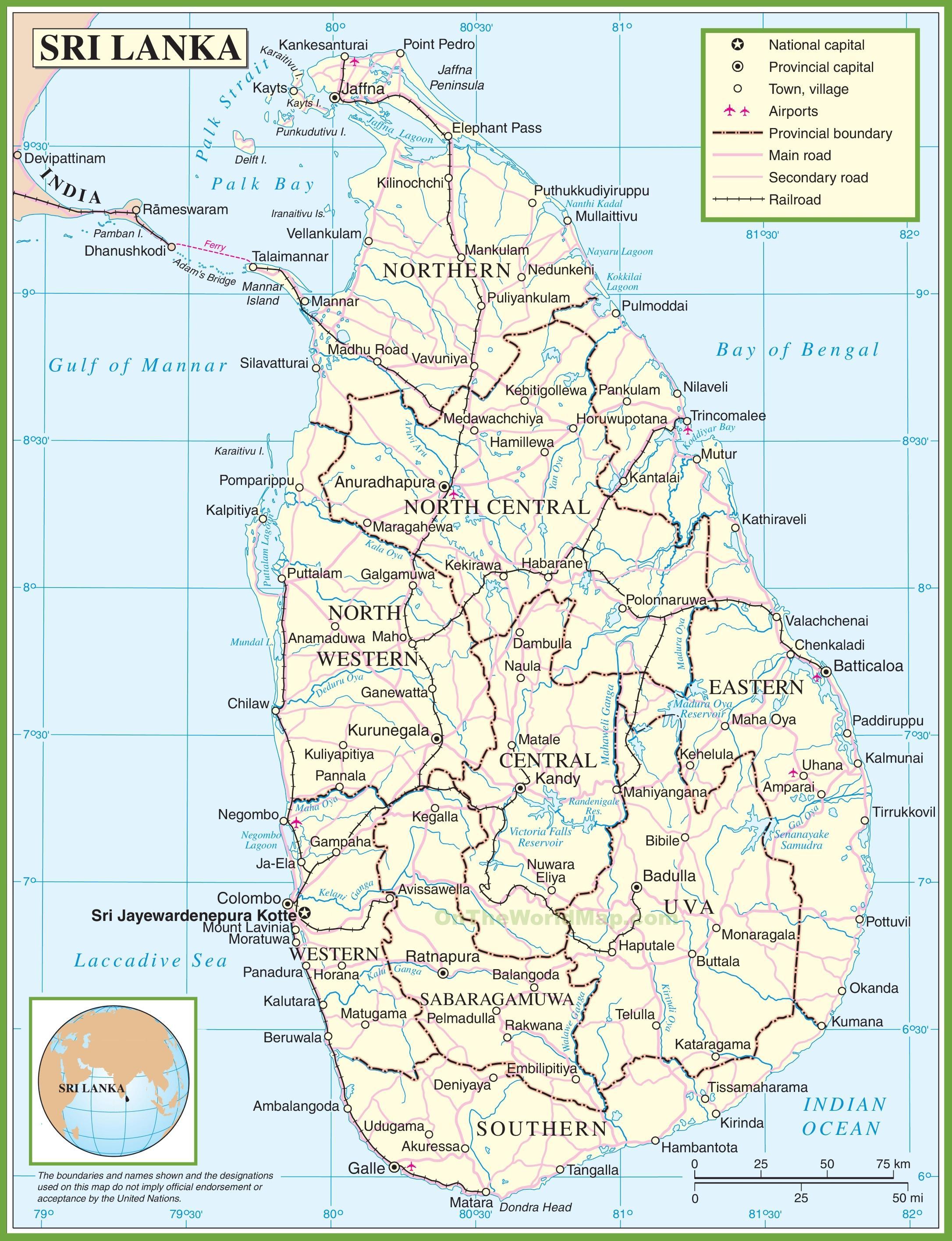 Kort Sri Lanka Et Kort Over Sri Lanka Sydlige Asien Asien