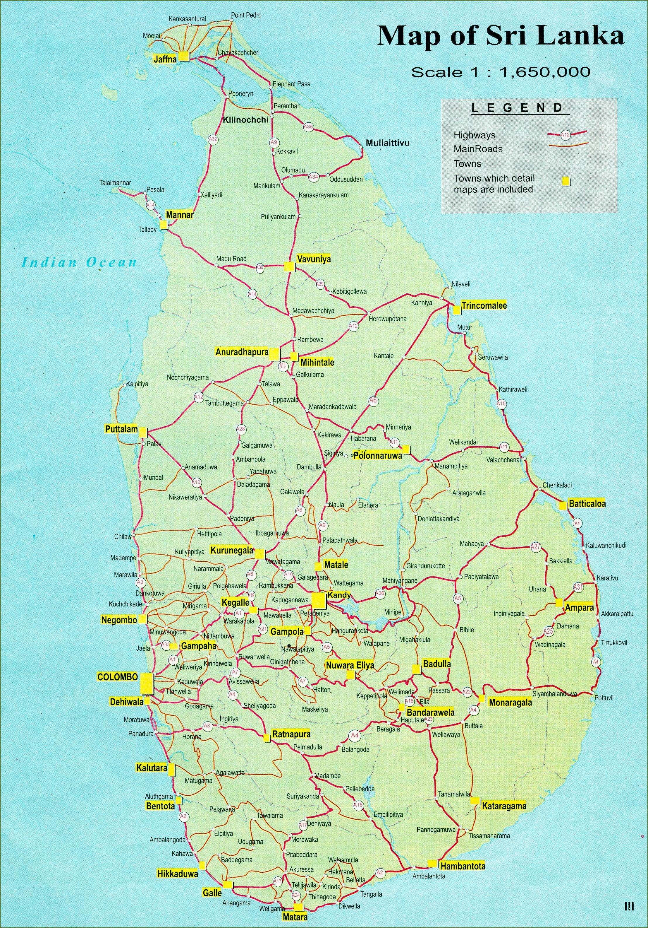 Turist Kort Over Sri Lanka Med Road Map Kort Over Turist Kort
