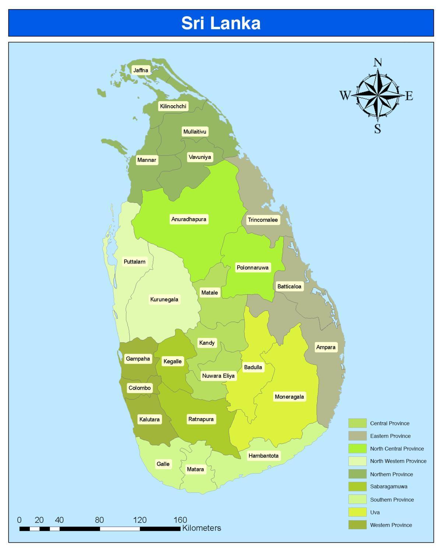 Sri Lanka Omrade Kort Kort Over Sri Lanka Omrade Det Sydlige