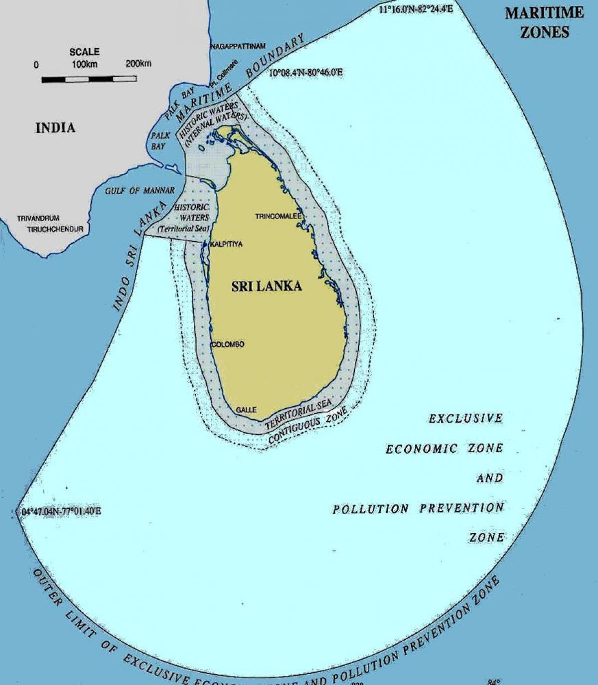 Sri Lanka Havet Kort Kort Over Sri Lanka Over Havet Det Sydlige