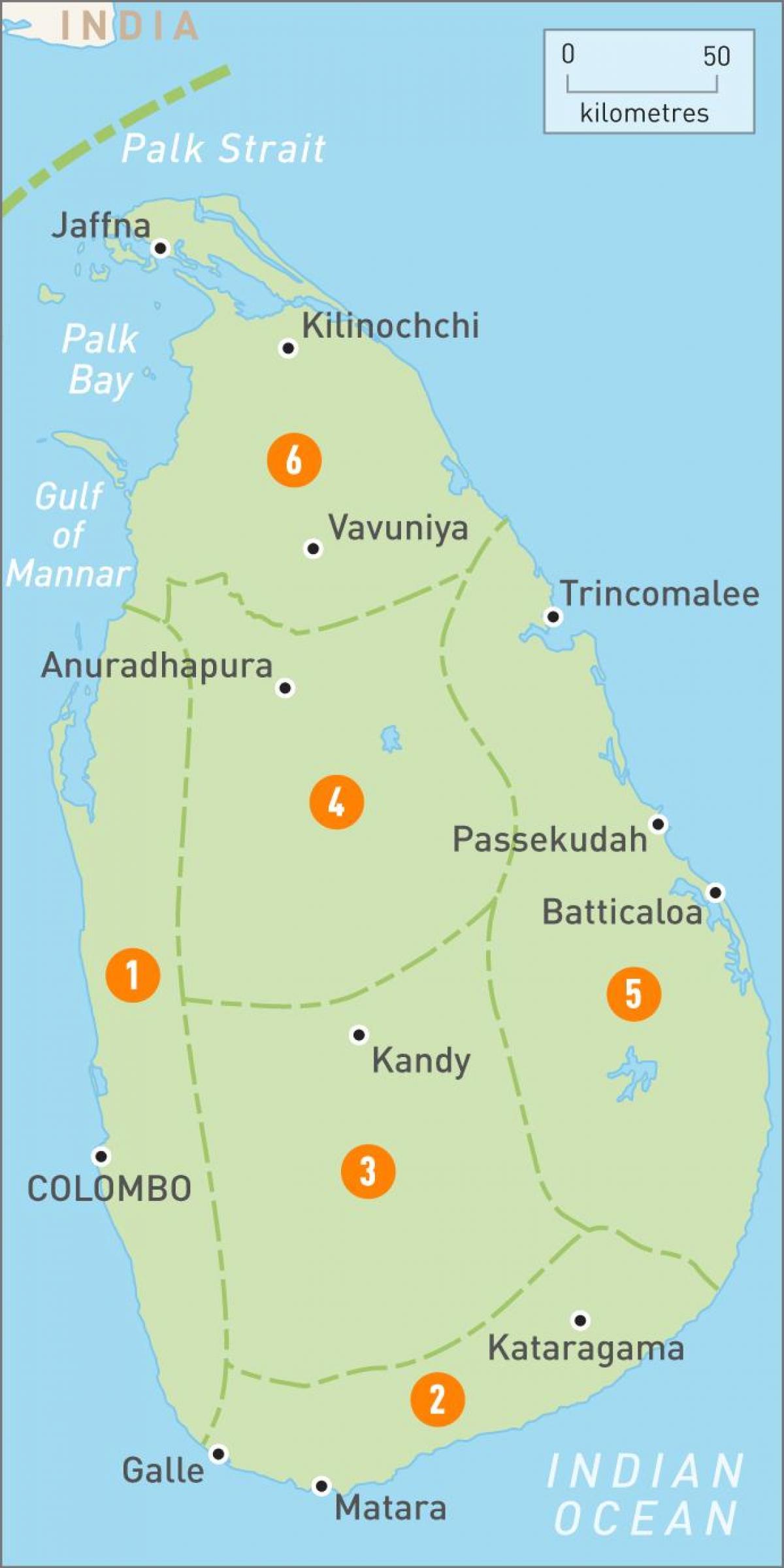 Sri Lanka Regioner Kort Kort Over Sri Lanka Regioner Sydlige