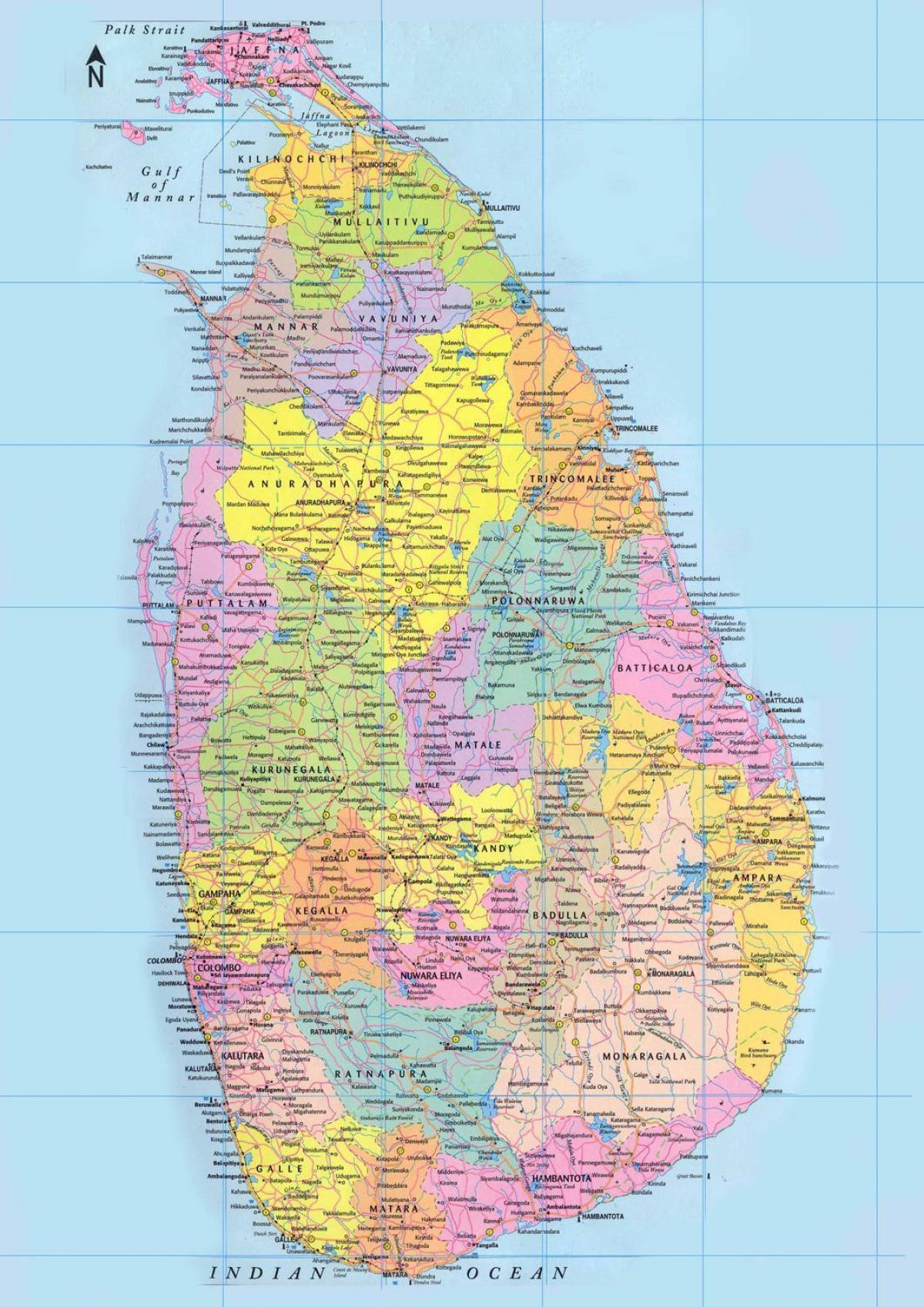 Sri Lanka Veje Kort Sri Lanka Road Kort Afstand Km Sydlige